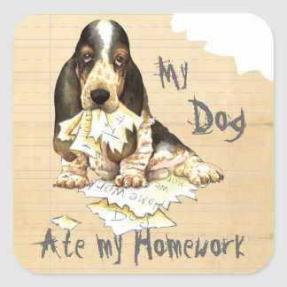 My Basset Ate My Homework Square Sticker