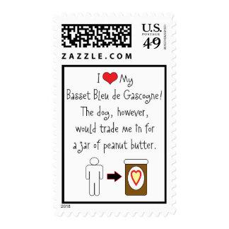 My Basset Bleu de Gascogne Loves Peanut Butter Postage Stamp