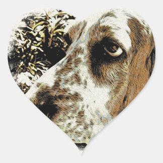 My Basset Hound Heart Sticker