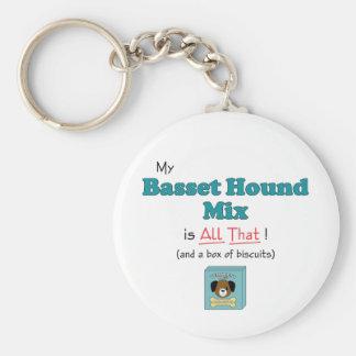 My Basset Hound Mix is All That! Basic Round Button Keychain
