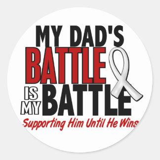 My Battle Too 1 Dad BONE / LUNG CANCER Classic Round Sticker