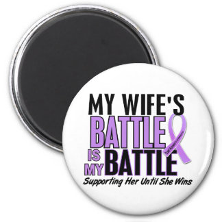 My Battle Too 1 Wife Hodgkin's Lymphoma 2 Inch Round Magnet