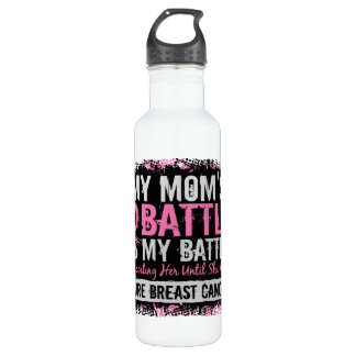My Battle Too 2 Breast Cancer Mom Stainless Steel Water Bottle