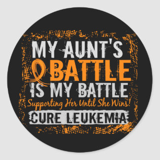 My Battle Too 2 Leukemia Aunt Classic Round Sticker
