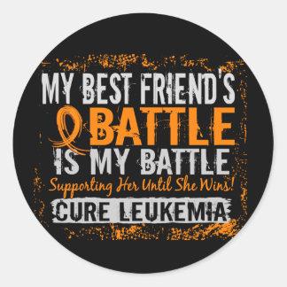 My Battle Too 2 Leukemia Best Friend Female Round Stickers