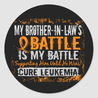 My Battle Too 2 Leukemia Brother-In-Law Classic Round Sticker