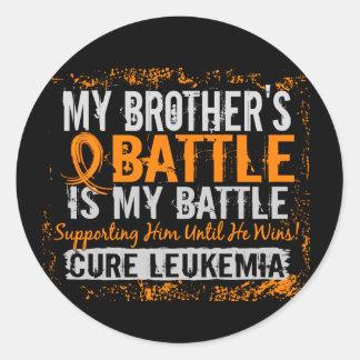 My Battle Too 2 Leukemia Brother Classic Round Sticker