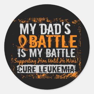 My Battle Too 2 Leukemia Dad Classic Round Sticker