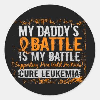 My Battle Too 2 Leukemia Daddy Classic Round Sticker