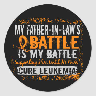 My Battle Too 2 Leukemia Father-In-Law Classic Round Sticker