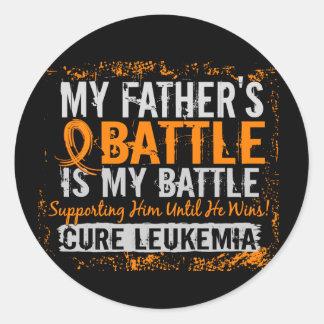 My Battle Too 2 Leukemia Father Classic Round Sticker