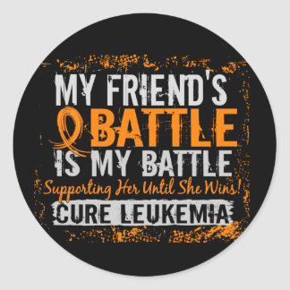 My Battle Too 2 Leukemia Friend Female Classic Round Sticker