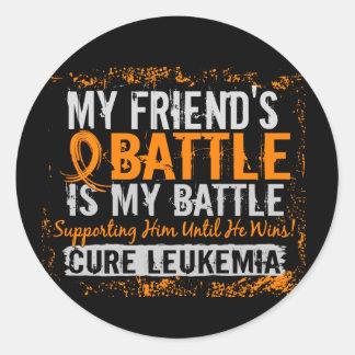 My Battle Too 2 Leukemia Friend Male Classic Round Sticker