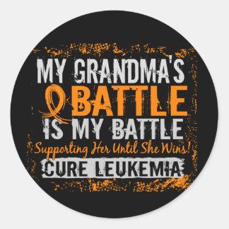 My Battle Too 2 Leukemia Grandma Classic Round Sticker
