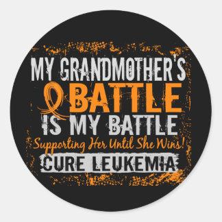 My Battle Too 2 Leukemia Grandmother Classic Round Sticker