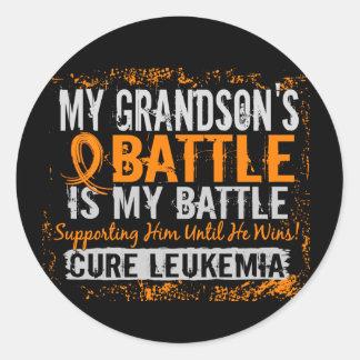 My Battle Too 2 Leukemia Grandson Classic Round Sticker