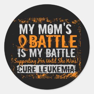 My Battle Too 2 Leukemia Mom Classic Round Sticker