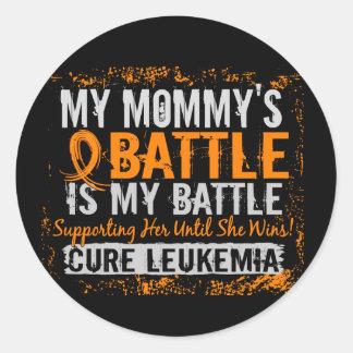My Battle Too 2 Leukemia Mommy Classic Round Sticker