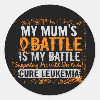 My Battle Too 2 Leukemia Mum Classic Round Sticker