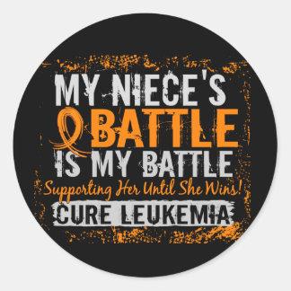 My Battle Too 2 Leukemia Niece Classic Round Sticker