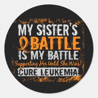 My Battle Too 2 Leukemia Sister Classic Round Sticker