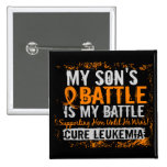 My Battle Too 2 Leukemia Son 2 Inch Square Button