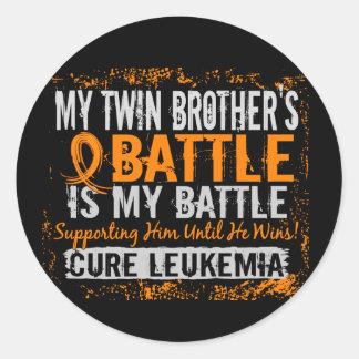 My Battle Too 2 Leukemia Twin Brother Classic Round Sticker