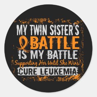 My Battle Too 2 Leukemia Twin Sister Classic Round Sticker