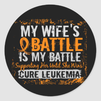 My Battle Too 2 Leukemia Wife Classic Round Sticker