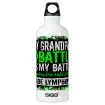 My Battle Too 2 Lymphoma Grandpa Aluminum Water Bottle