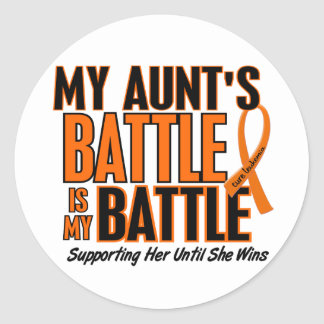 My Battle Too Aunt Leukemia Classic Round Sticker