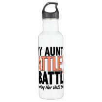 My Battle Too Aunt Uterine Cancer Water Bottle