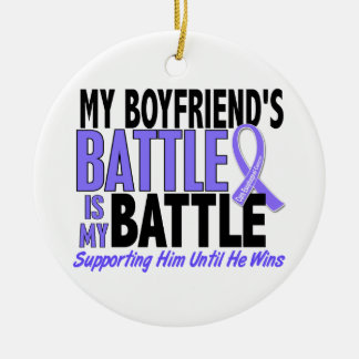 My Battle Too Boyfriend Esophageal Cancer Double-Sided Ceramic Round Christmas Ornament