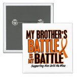 My Battle Too Brother Leukemia 2 Inch Square Button
