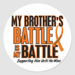 My Battle Too Brother Leukemia Classic Round Sticker