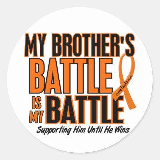 My Battle Too Brother Leukemia Classic Round Sticker