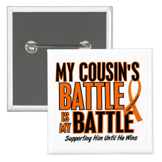 My Battle Too Cousin Leukemia 2 Inch Square Button