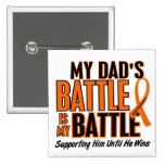 My Battle Too Dad Leukemia 2 Inch Square Button