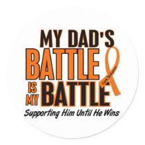 My Battle Too Dad Leukemia Classic Round Sticker