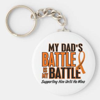 My Battle Too Dad Leukemia Keychain