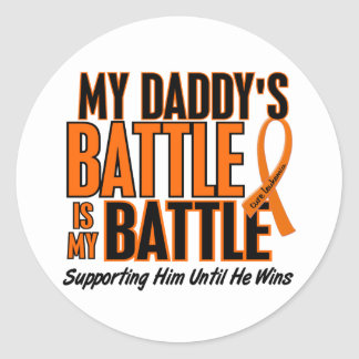 My Battle Too Daddy Leukemia Classic Round Sticker