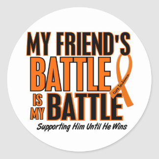 My Battle Too Friend Leukemia Classic Round Sticker