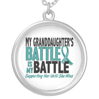 My Battle Too Granddaughter Ovarian Cancer Round Pendant Necklace