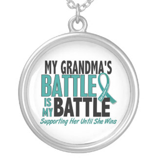 My Battle Too Grandma Ovarian Cancer Round Pendant Necklace