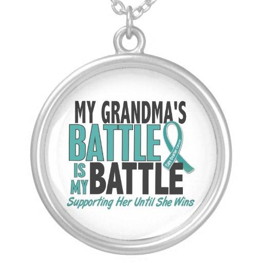 My Battle Too Grandma Ovarian Cancer Round Pendant Necklace