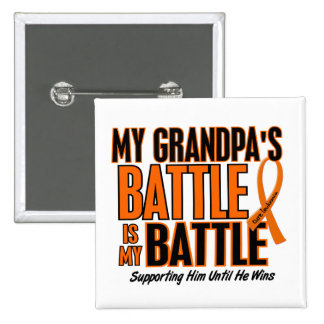 My Battle Too Grandpa Leukemia 2 Inch Square Button