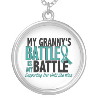My Battle Too Granny Ovarian Cancer Round Pendant Necklace