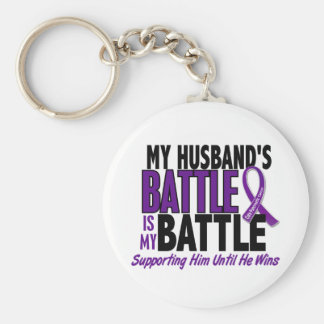 My Battle Too Husband Pancreatic Cancer Basic Round Button Keychain