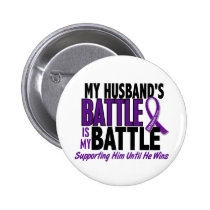 My Battle Too Husband Pancreatic Cancer Pinback Button