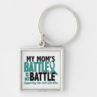 My Battle Too Mom Ovarian Cancer Silver-Colored Square Keychain